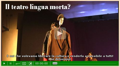 schermata del player col video teatrale in home di webmultimediale